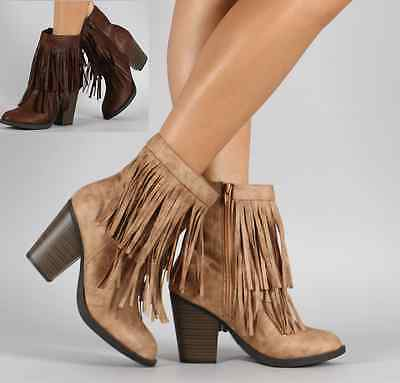 Womens Fringe Stacked Heel Ankle Bootie Round Toe Layered PU-Leather Cowboy Boot