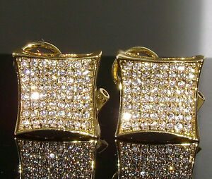 $150 XXL MENS GOLD GP DIAMOND SIMULATE ICED OUT CUSTOM HIP HOP XX-LARGE EARRINGS