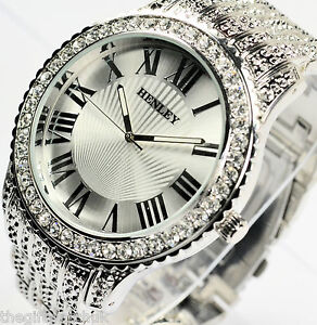 Henley-Mens-Big-Dial-Sparkling-Crystal-Bling-Silver-Tone-Bracelet-Watch-Boxed