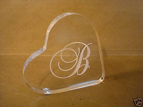 Monogram Acrylic Heart Wedding Cake Topper Engraved