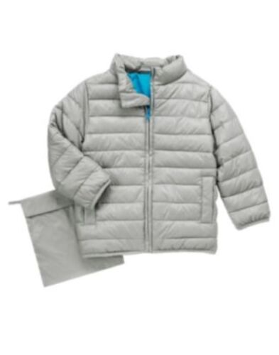 GYMBOREE COOL /& BRIGHT SILVER PUFFER PACK-ABLE JACKET 3 4 5 6 7 8 10 12 NWT