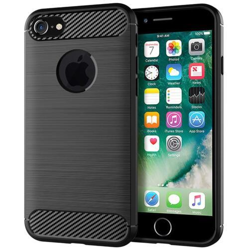 Para iPhone 5 5S SE suave protectora a prueba de impactos fibra de carbono estuche cubierta negro