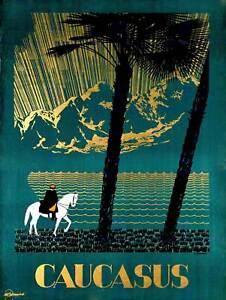 TOURISM-CAUCASUS-AINS-SOVIET-UNION-RUSSIA-LAKE-HORSE-ART-PRINT-POSTER-BB9850