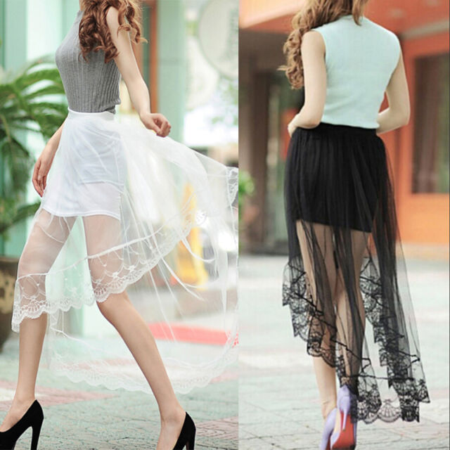 2016 New Women Sexy Sheer Tulle Lace Floral Long Maxi Skirt Pleated Dress DAZ