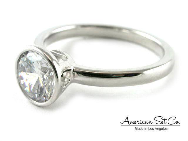 18K White gold Bezel Set Diamond Engagement Ring Solitaire Setting Women