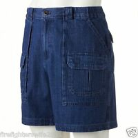 Men's Croft & Barrow Side Elastic Cargo Denim Shorts Size 32 73277