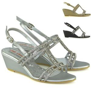 Womens-Mid-Heel-Wedge-Shoes-Ladies-Diamante-Bridal-Sparkly-Strappy-Sandals-Size