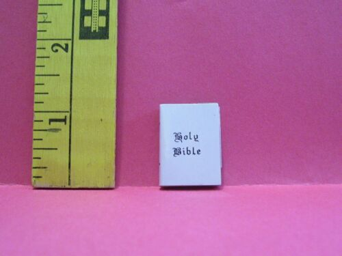 DOLLHOUSE  FASHION DOLL MINIATURE WHITE BIBLE BOOK ACCESSORY DOES NOT OPEN #2
