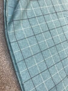 Duck-egg-blue-grey-check-crafts-remnant-fabric-sewing-material-piece-110x105cm