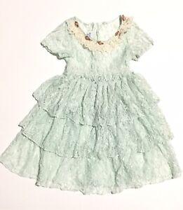 Vtg-Little-Girl-Dress-Lace-Sheer-Flare-Buttons-Flowers-Mint-Green