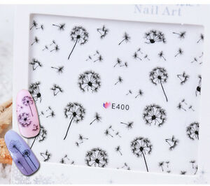 Nail-Art-Water-Decals-Transfers-Stickers-Black-Dandelions-Gel-Polish-E400