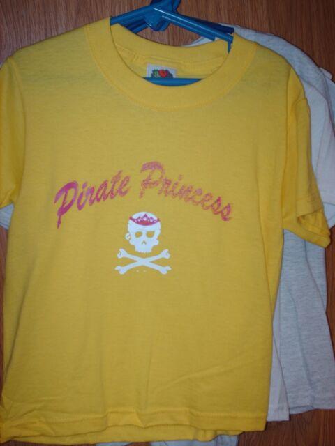 XS 2-4 kids t-shirt Yellow Pirate Princess (defective print)