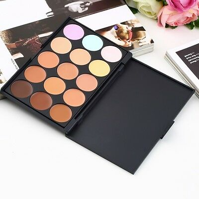 15 Colors Contour Cream Makeup Concealer Palette + Sponge Puff Powder Brush OW