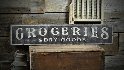 Groceries & Dry Good Distressed Sign -Rustic Hand Made Vintage Wooden ENS1000538