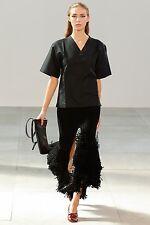 **CELINE** Black Silk Blend Split Fringed Fringe Skirt **REDUCED IN PRICE**
