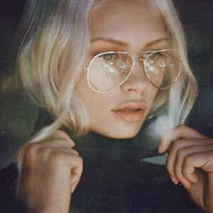 Unisex-Big-Round-Gold-Metal-Frame-Clear-lens-Vintage-Retro-Glasses-FREE-SHIPPING