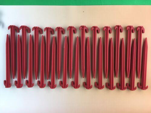 """Rose Rouge ou Gris Caravane Tente Chevilles en plastique Pack de 8/"""" 25"""