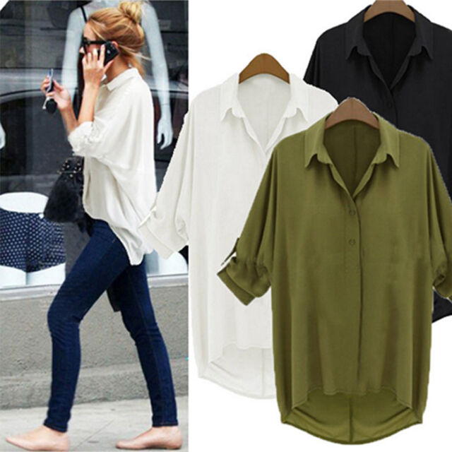 New Fashion Women's Loose Chiffon Tops Long Sleeve Shirt Casual Blouse Plus Size