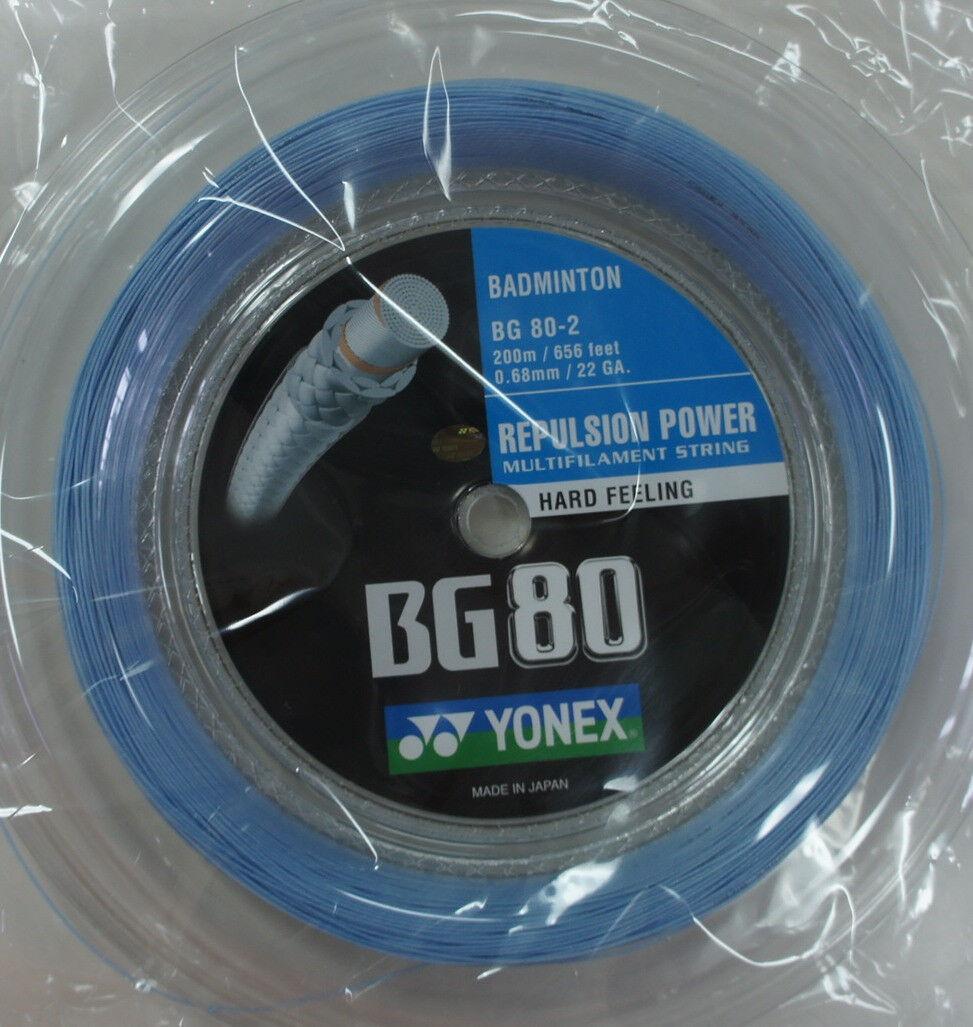 Yonex Badminton String, BG80-2, BG80 200m Coil, SKY Blau, Made in Japan
