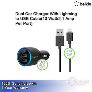 Belkin-Dual-USB-Car-Charger-Lightning-Cable-10W-2-1A-2-Port-iPhone-iPad-F8J071
