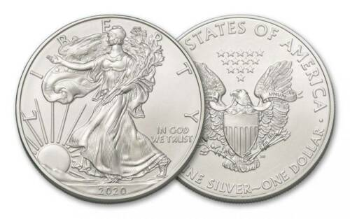 2020 1 OZ AMERICAN SILVER EAGLE COINS **FIRST STRIKE** FROM U.S MINT TUBE 2