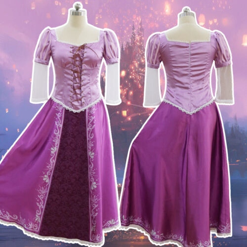 Adult Princess Rapunzel Dress Tangled Fairytale Halloween Cosplay Costume 2019