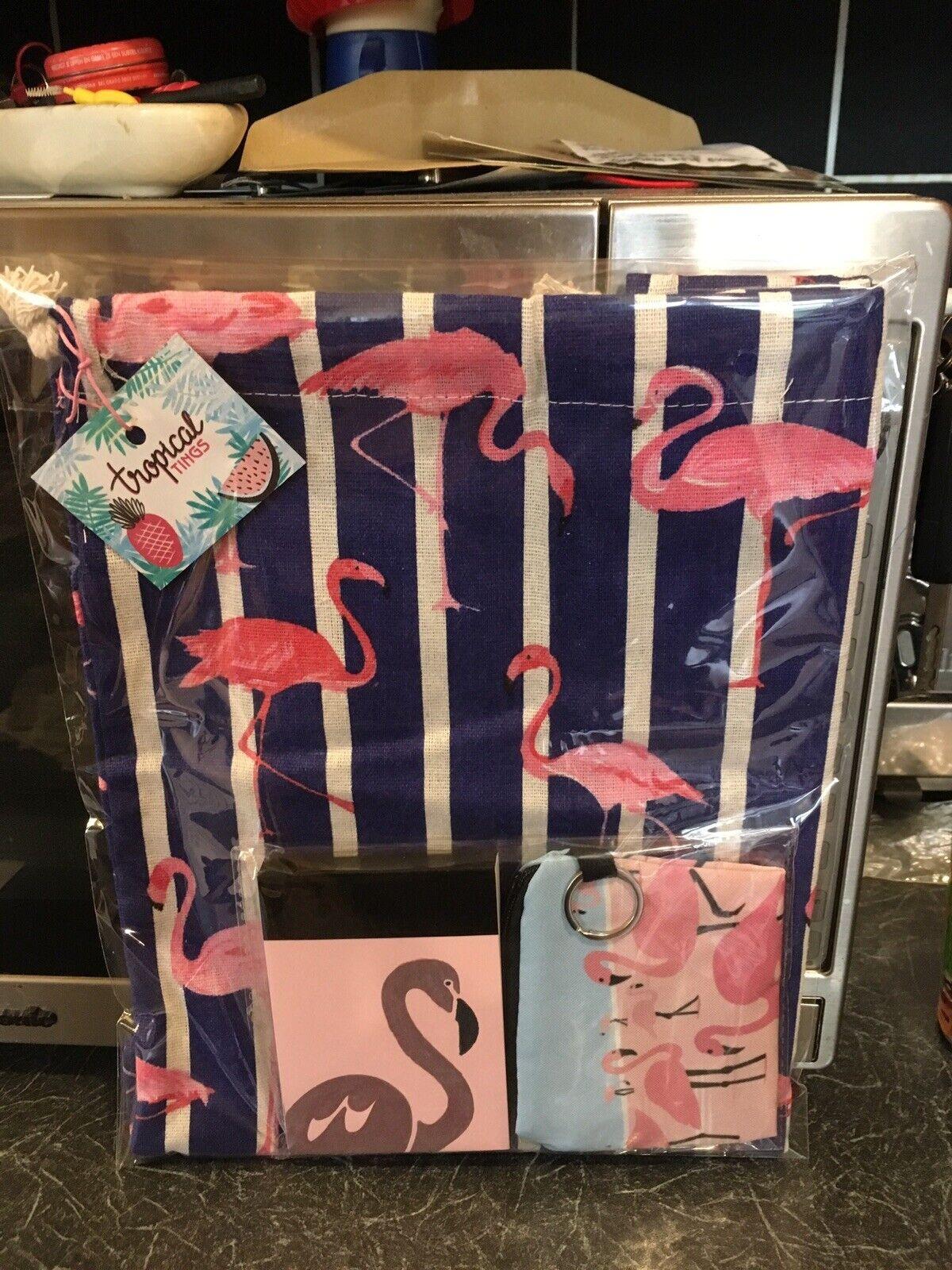 Retro Blue Pink Flamingo Drawstring Bag Notebook + Purse 3 Pc Gift Set