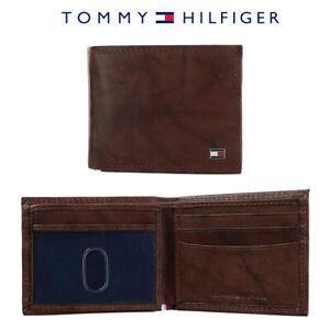 Tommy-Hilfiger-Men-039-s-RFID-Blocking-Leather-Extra-Capacity-Traveler-Tan-Wallet