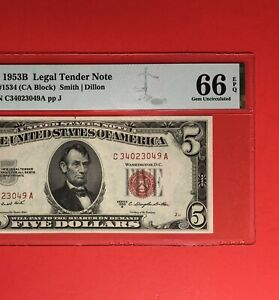 1953-B-5-RED-SEAL-LEGAL-TENDER-NOTE-GRADED-BY-PMG-GEM-UNCIRCULATED-66-EPQ