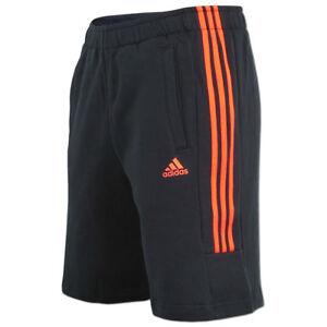 adidas-Herren-3-Streifen-Short-Sportshort-Sweatshort-Freizeitshort-black-solred