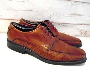 new release top-rated newest comfortable feel Details about ECCO Brown Leather Shock Point Soft Sole Comfort Dress Shoes  Mens Suze 12 EUC