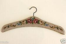 Vintage Handmade Cross Stitch / Embroidered Hanger Beige Flowers Roses decor