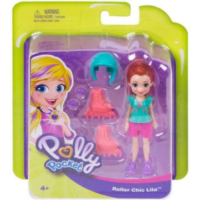 Ships Free! Polly Pocket Active Roller Chic Lila Adventure Doll Brand New