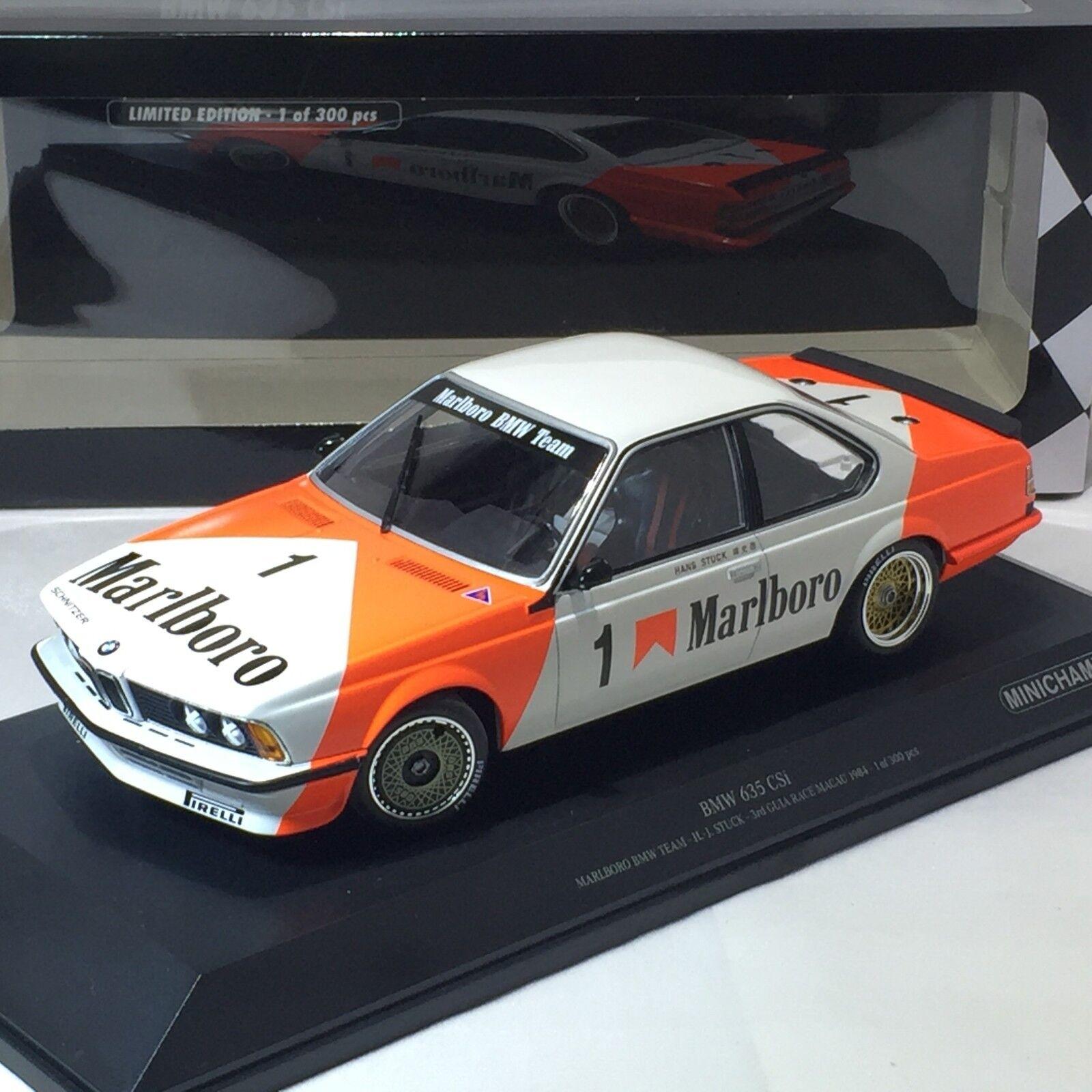 1 18 Minichamps  TM-155842501 BMW 635CSI Gr. un han pegado Macao Guia 1984 3rd Plac