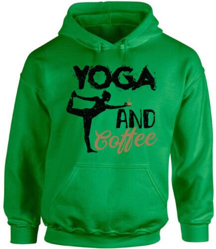 GYM Hoodie Hooded Sweatshirts Yoga and Coffee Unisex Yoga Lover