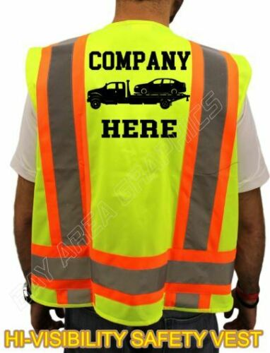 TOWING TRUCK SAFETY VEST  YELLOW *REFLECTIVE* CUSTOM NAME COMPANY M L OR XL