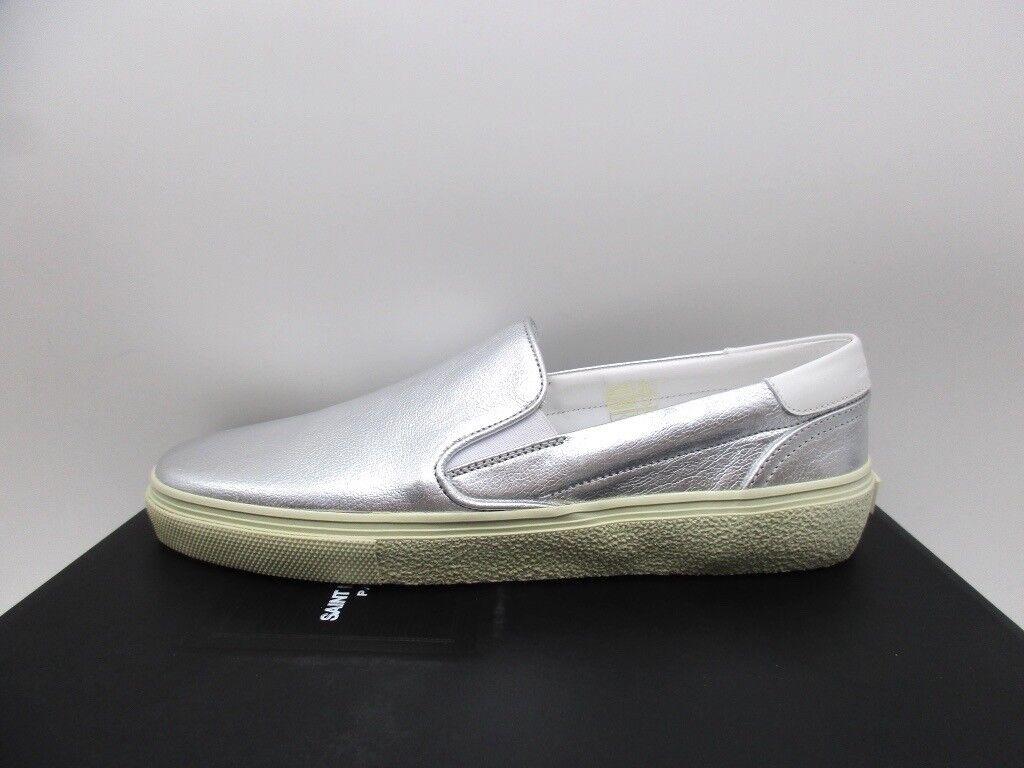 Saint Laurent Womens Skate 20 Slip On Silver Leather Sneakers 40 10
