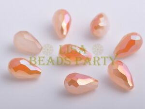 10pcs-15X10mm-Teardrop-Faceted-Crystal-Glass-LooseBead-Opal-Half-OrangeColorized