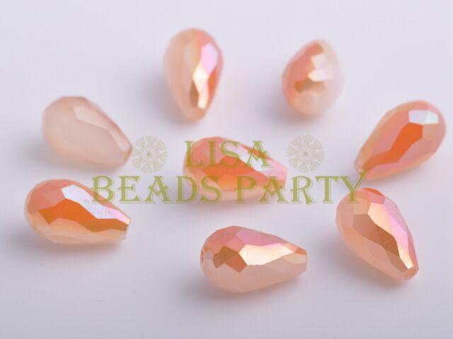 10pcs 15X10mm Teardrop Faceted Crystal Glass LooseBead Opal Half OrangeColorized