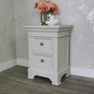 Taupe Grey Bedside Chest Table Storage Shabby Vintage Chic Bedroom