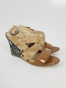 Wittner-COWBOY-Two-Tone-Tan-Leather-Wedge-High-Heel-Women-039-s-Size-EUR37-Snakeskin