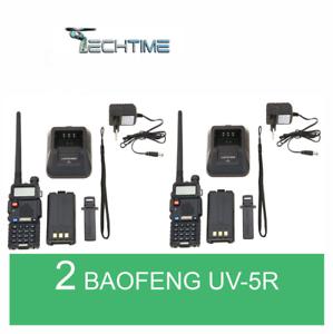 2X-BAOFENG-UV-5R-VHF-UHF-DUAL-BAND-RADIO-130-176-400-520-Mhz-RICETRASMITTENTE