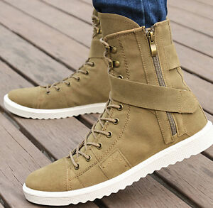 Spring new denim high top boots men's high-top canvas shoes ...