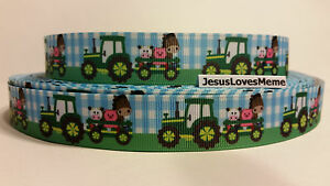 Grosgrain Ribbon Green Tractors Green Wagon with Cow Pig Horse Blue Plaid 7//8/""