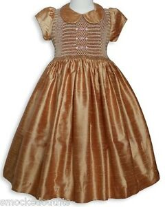 New-Beautiful-Thanksgiving-Golden-Silk-Smocked-Girl-Dress-Boutique-Design-16756