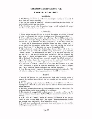 Enterprise Crescent P-18 Wood Planer Instruction and Parts List Manual *838