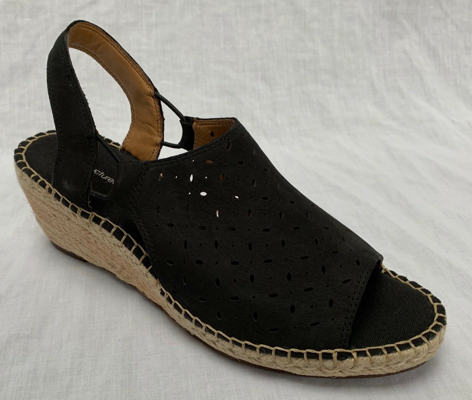 BNIB Clarks Unstructured Ladies Petrina Gail Black Black Black Nubuck Leather Wedged Sandals 91d226