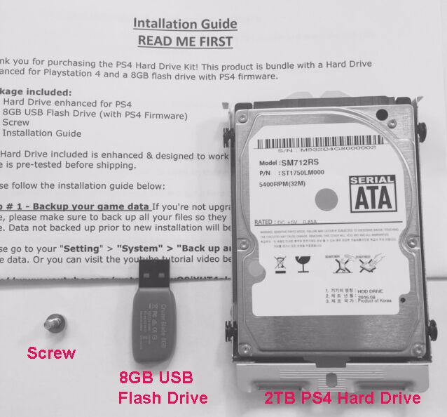 2TB Playstation4 (PS4) Hard Drive w/ PS4 Mounting Kit + 8GB Flash Drive CUH  1200