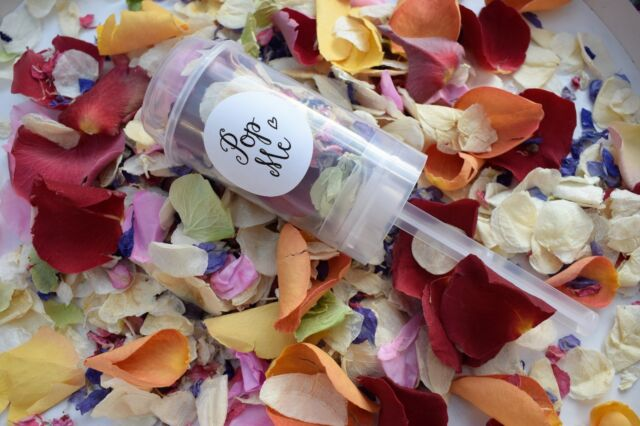 Natural Rose Petal Wedding Confetti Biodegradable Push Pop Poppers Wands