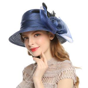 Women s Ladies Hats Floral Feather Floppy Derby Hat Beach Sun Cap ... d4d2e48ef35
